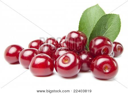 Juicy cherries isolated on white background