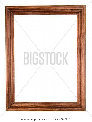 blank wooden frame isolated on white  background