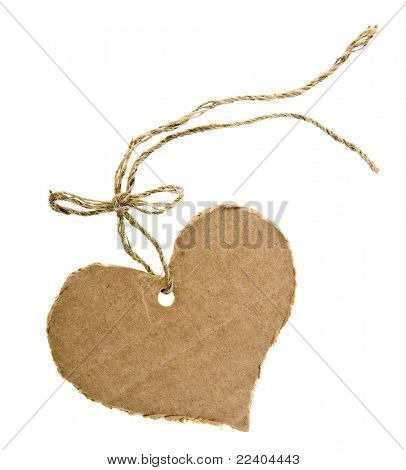 tag cardboard in the form of hearts with flax cord  isolated on white background