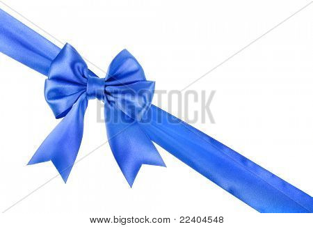 blue ribbon  bow isolated on white background