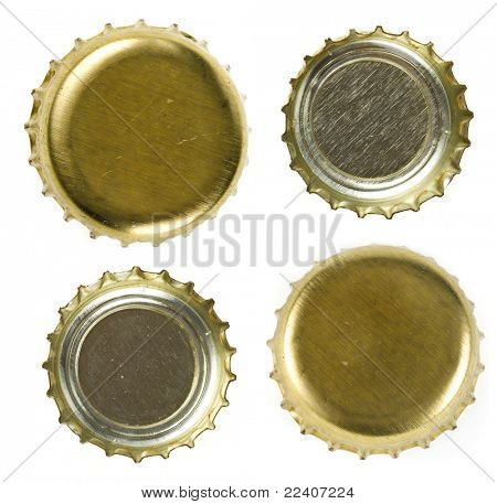 Bier Flaschenverschlüsse isolated on white Background.