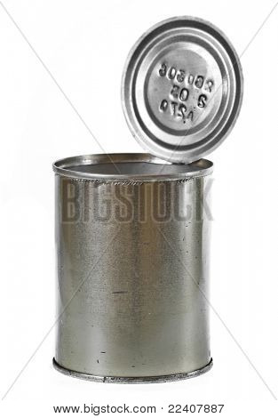 open tin can isolated on the white