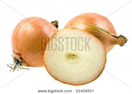fresh onions and a half isolated on white background