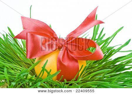 Golden Easter eggs in the green nest isolated on white background