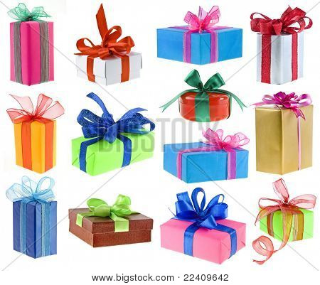 The collection of gift cardboard boxes isolated on white background