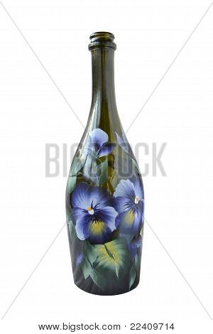 Champagne Bottle With Flower Decoration