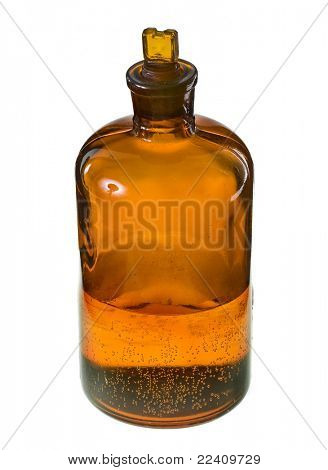 Brown glass bottle with chemicals