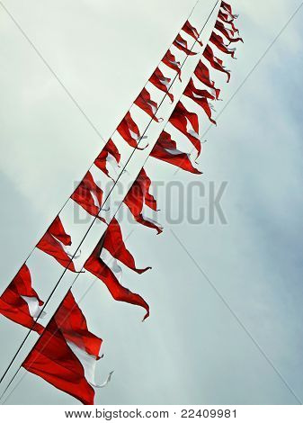 Small triangular waving flags