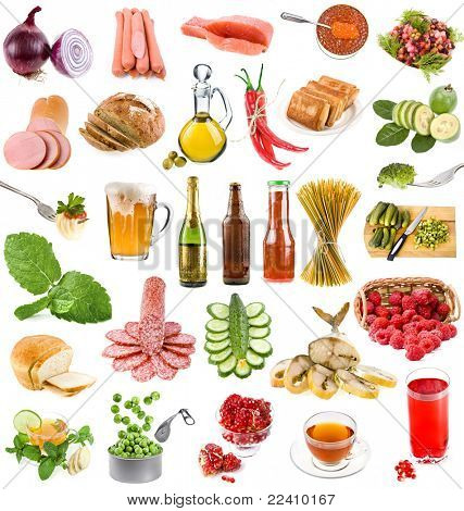 The collection of tasty and useful food and drinks isolated on a white background