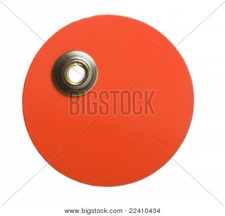round red blank price tag on white
