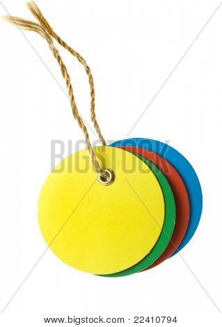 round color blank tag label with string isolated on white background