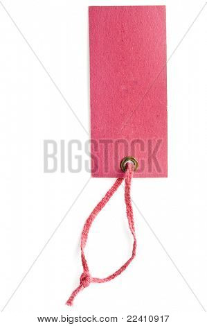 Price tag or address label with pink string