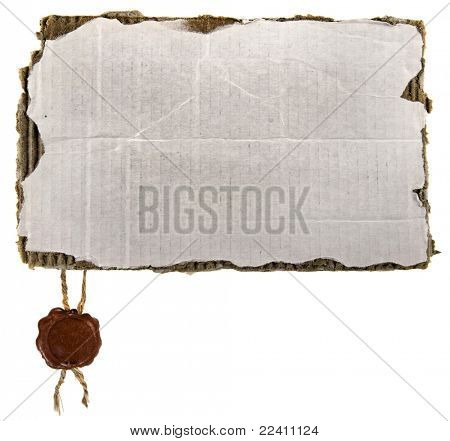 Old cardboard paper with wax seal isolated over a white background