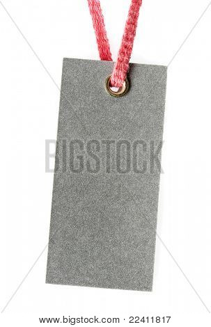 Price tag or address label with pink string isolated