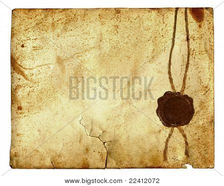 antique paper with wax seal  isolated over a white background