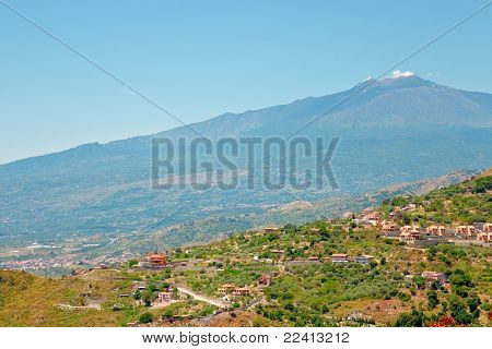 View On Etna And Agricultural Gardens On Sicilian Hills