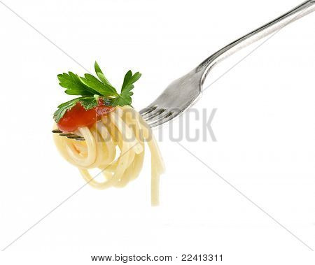 spaghetti pasta with tomato sauce isolated on white