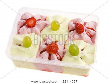 ice cream with fresh berries in a plastic box  isolated on white background