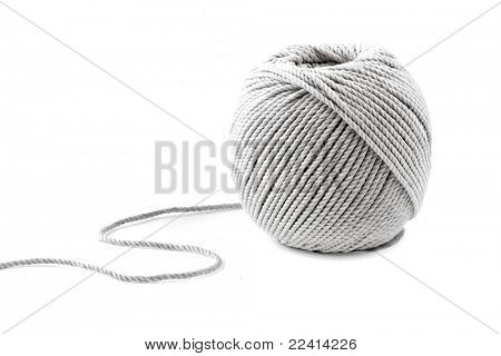 Clew of twine isolated on white background