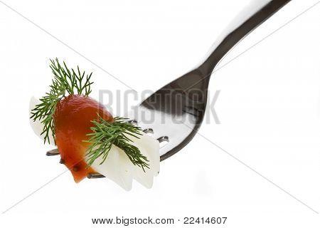 pasta rice flour with tomato sauce isolated on white