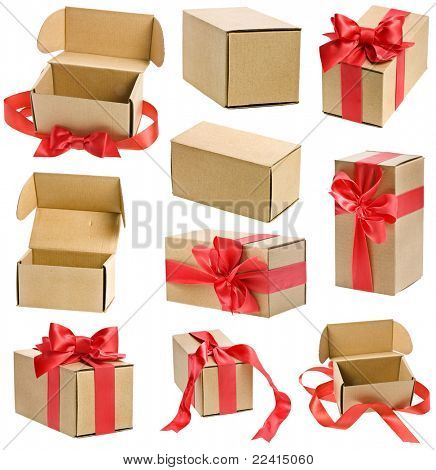 Kollektion präsentieren Boxen mit Red Ribbon-Bögen, isolated on white