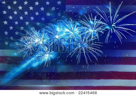 fireworks against the backdrop of the American flag