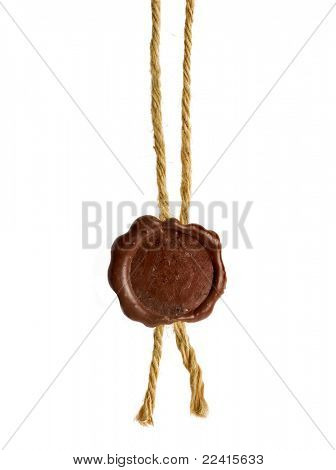 Post stamps , Empty seal wax with the cord isolated on white