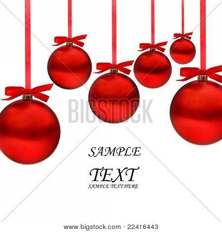 Cartão de Natal com bolas vermelhas e fitas vermelhas, com espaço para seu texto