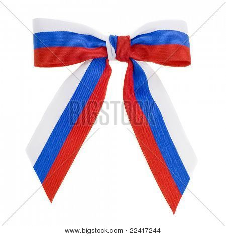 bow Russian flag isolated on white