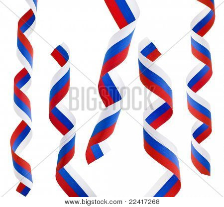 curls of Russian flag isolated on white background