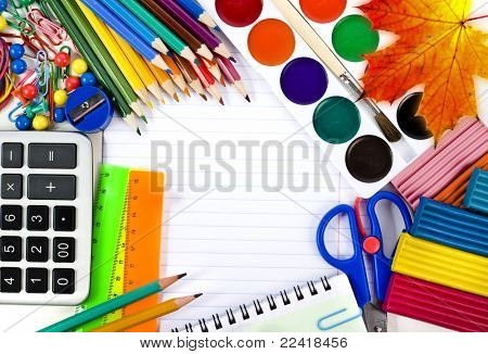 Notebook , colored pencils, back to school background