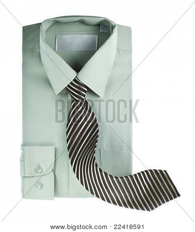Men shirt and striped neck tie isolated