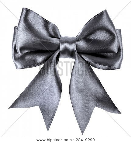 black ribbon bow isolated on white