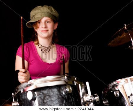 Young Teen Drumming