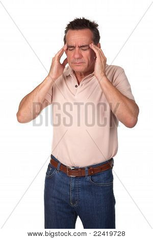 Man with Headache Holding Head in Pain