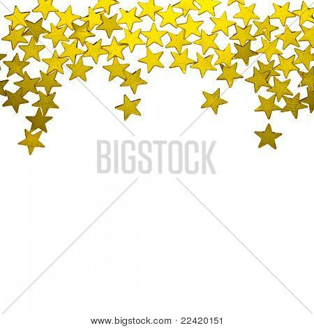 golden  stars ornaments on white background