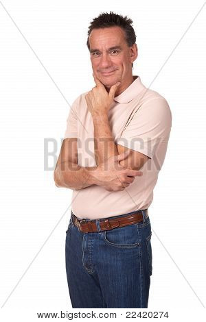 Attractive Smiling Middle Age Man in Thoughtful Pose