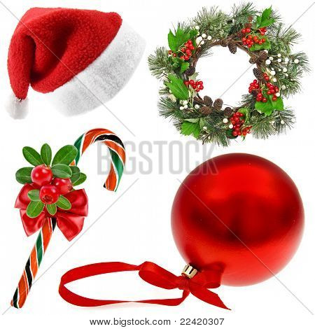 Christmas Set (santa's hat,wreath, candy cane, red ball) on white background