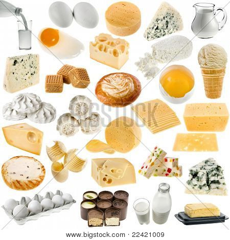 collection of dairy produce and chicken egg isolated on white background