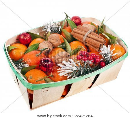 christmas box  with mandarins isolated on white
