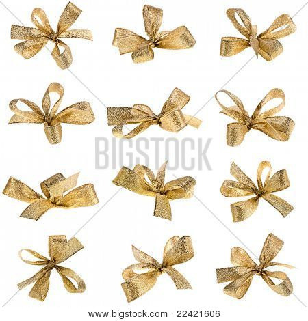 gift golden ribbon bow isolated on white