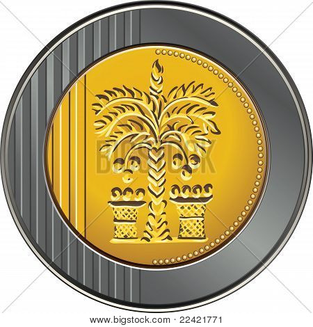 Vector Israeli Shekel Coin With The Image Of The Date Palm