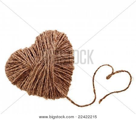 two rope hearts isolated on white background