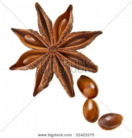 Star anise (badiane) isolated on white