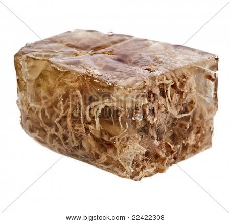 aspic meat jelle over white background
