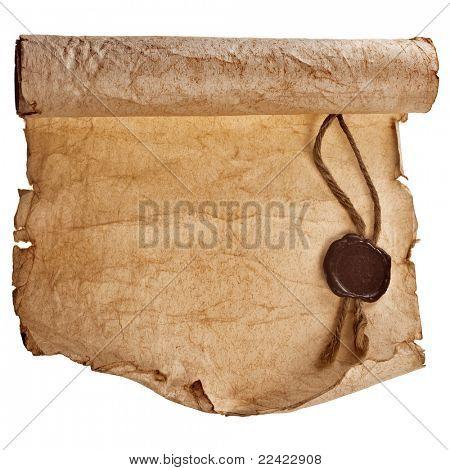 Altpapier mit einem Wachs-Siegel auf weißem Hintergrund