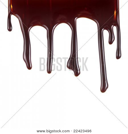 chocolate syrup leaking on white background