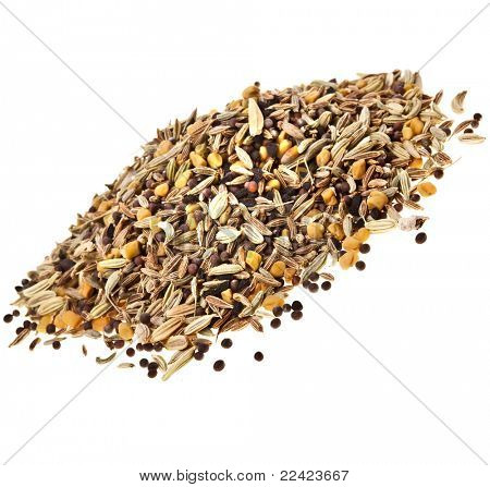 Indian spices isolated on white background