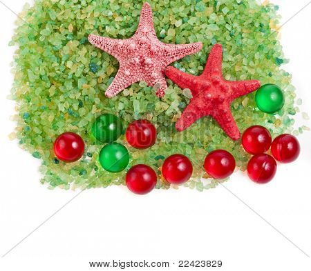 sea salt , red starfish and bath aromatic balls   isolated on white