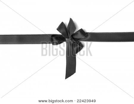 Schwarzes Farbband bow isolated on white background
